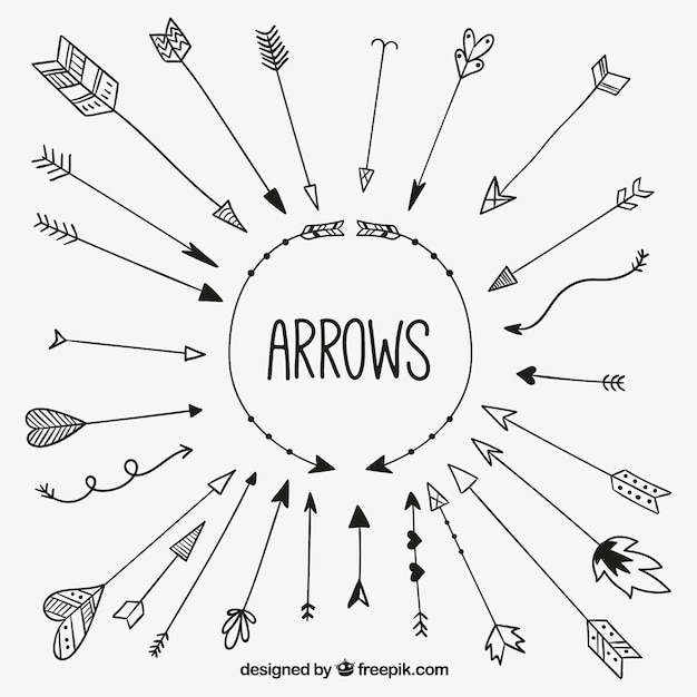 Sketchy arrows collection Free Vector