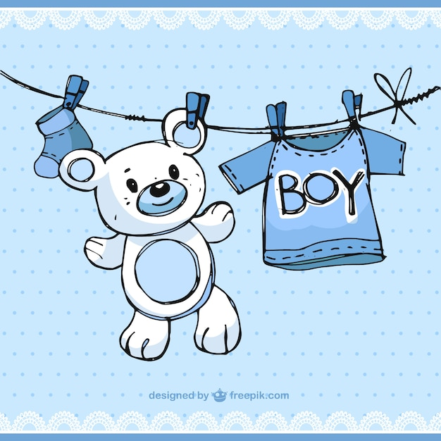 Sketchy baby boy elements Vector | Free Download