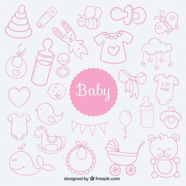 Sketchy baby elements Free Vector