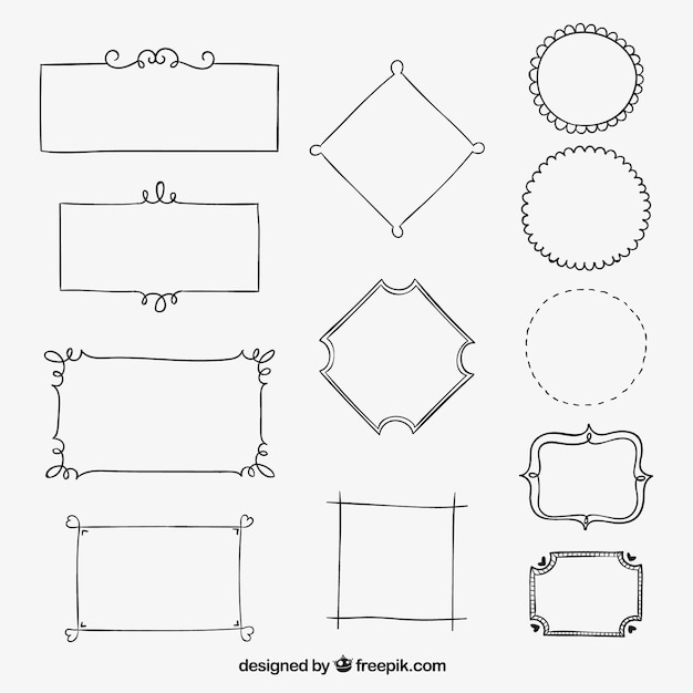 Sketchy borders collection Vector   Free Download