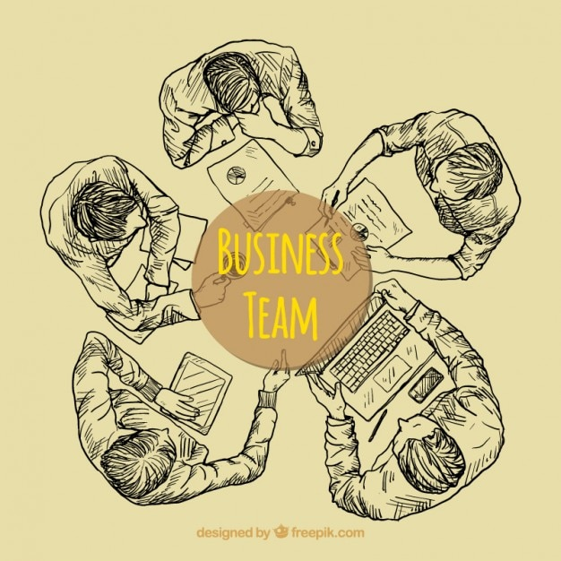 Sketchy business team in top view