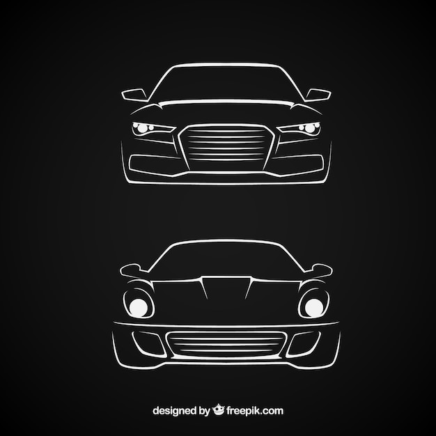 Sketchy cars Premium Vector