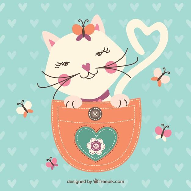 Sketchy cat in the pocket Premium Vector