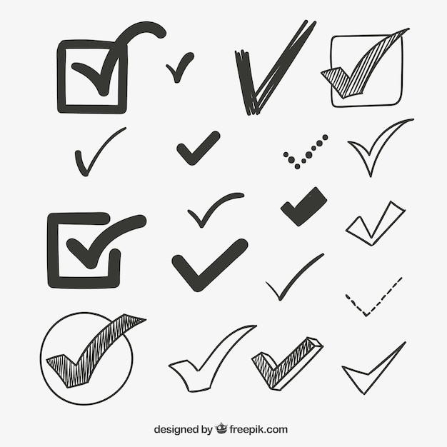 sketchy check marks vector free download
