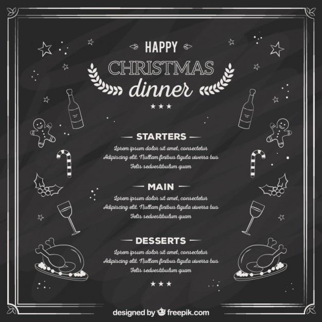 Sketchy Christmas Dinner Menu On Blackboard Free Vector  Free Christmas Dinner Menu Template