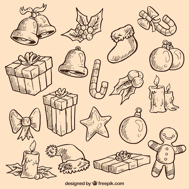 Sketchy christmas elements Free Vector