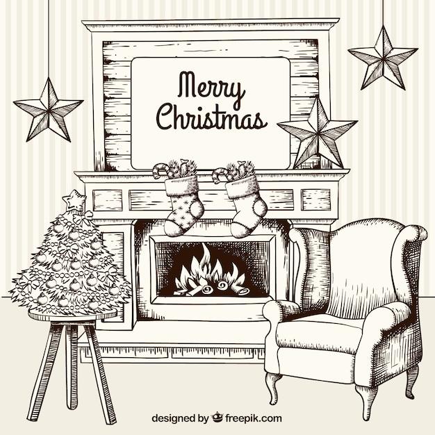 Free Vector | Sketchy christmas living room