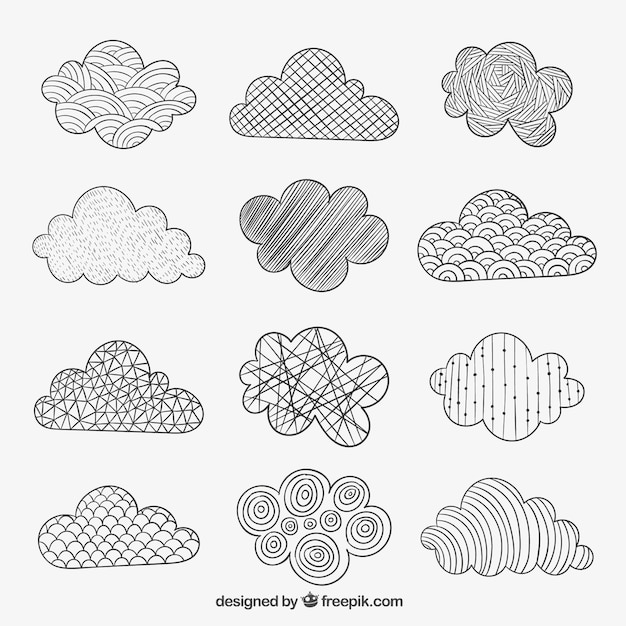 Sketchy Clouds In Abstract Style Vector Free Download