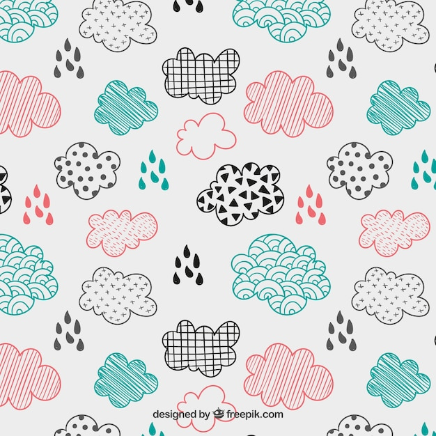 Sketchy clouds pattern Free Vector