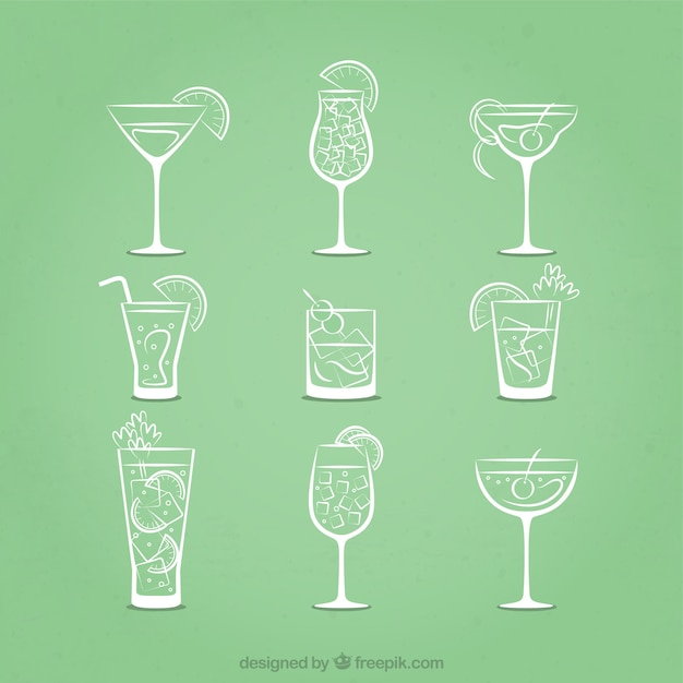 Sketchy cocktails icons Free Vector