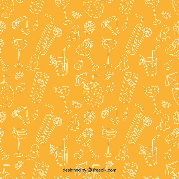 Sketchy cocktails pattern Free Vector