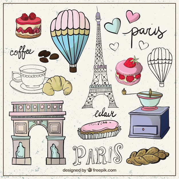 Sketchy collection of Paris elements Free Vector