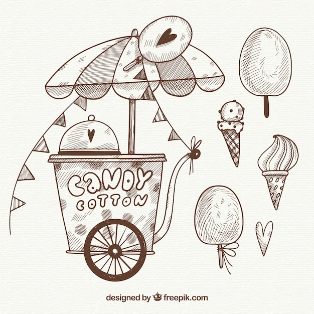 Sketchy cotton candy cart and sweets Free Vector