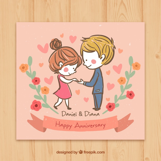 Sketchy couple in love happy anniversary card Free Vector
