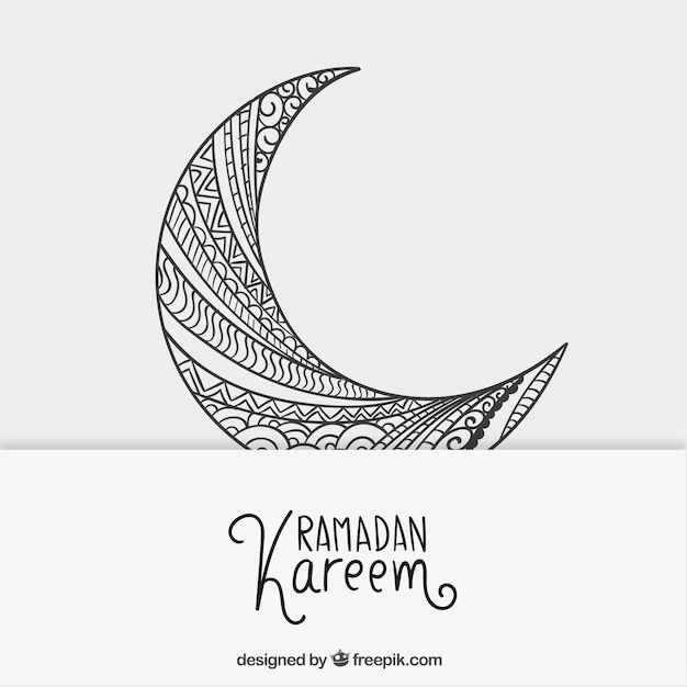 free vector sketchy crescent moon for ramadan kareem sketchy crescent moon for ramadan kareem