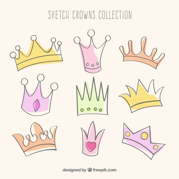 Sketchy crowns collection Free Vector