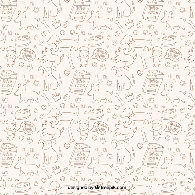 Sketchy dogs pattern Free Vector