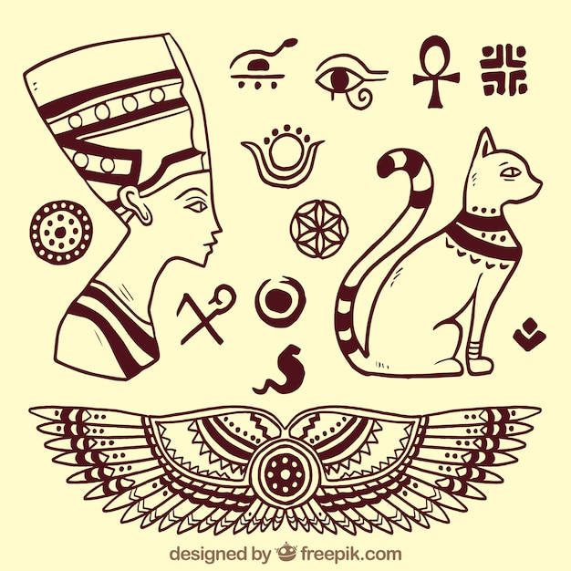 Sketchy egyptian gods elements Free Vector