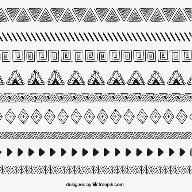 Sketchy ethnic dividers Free Vector