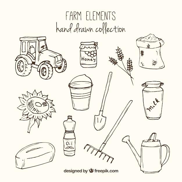 Эскизные инструменты фермы и элементы Premium векторы