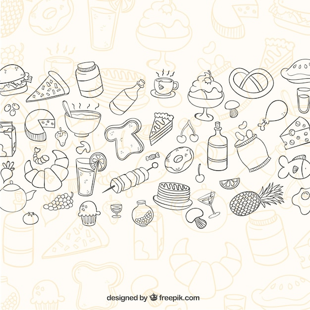 Sketchy food background Free Vector