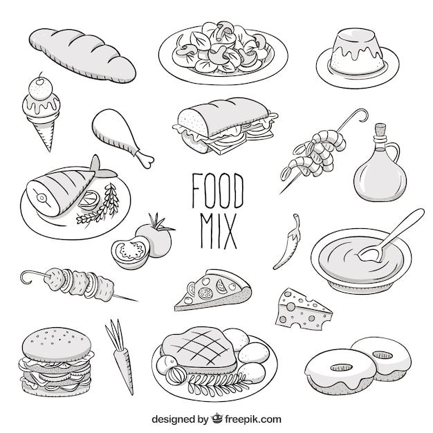 Vector Drawing Lines Worksheet : Sketchy food mix vector free download