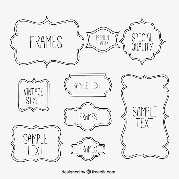 Sketchy frames collection Vector | Free Download