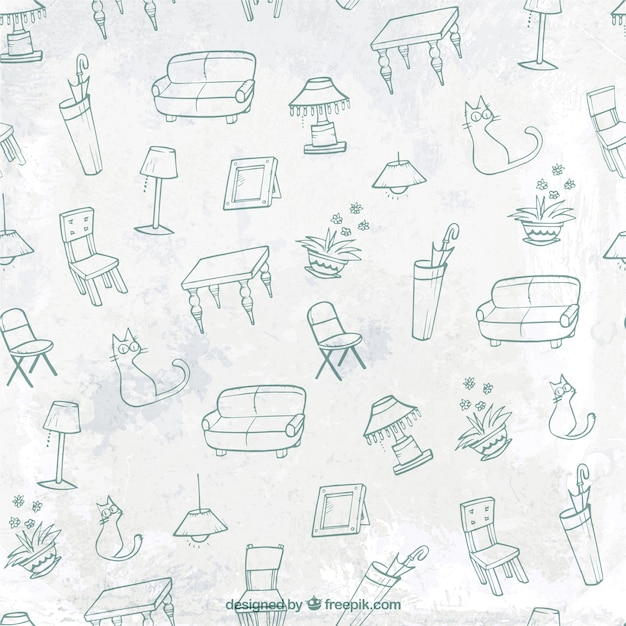 Sketchy Furniture Pattern Free Vector