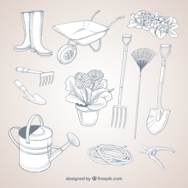 Sketchy gardening tools vector free download for Gardening tools drawing