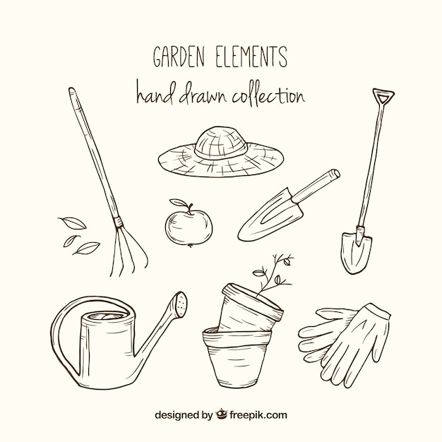 Sketchy gardening tools Free Vector