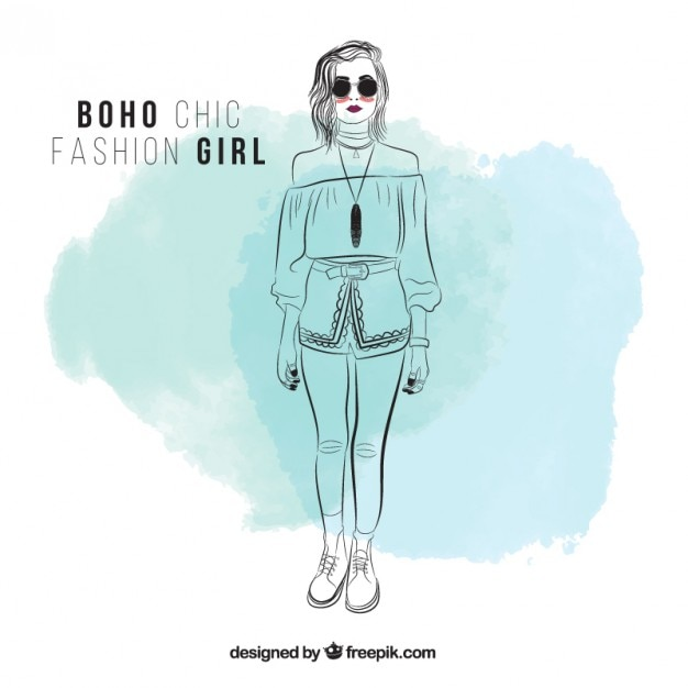 Sketchy girl with sunglasses and boho clothes Free Vector