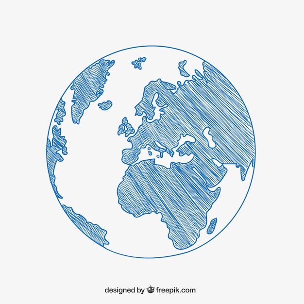 Sketchy globe drawing Free Vector