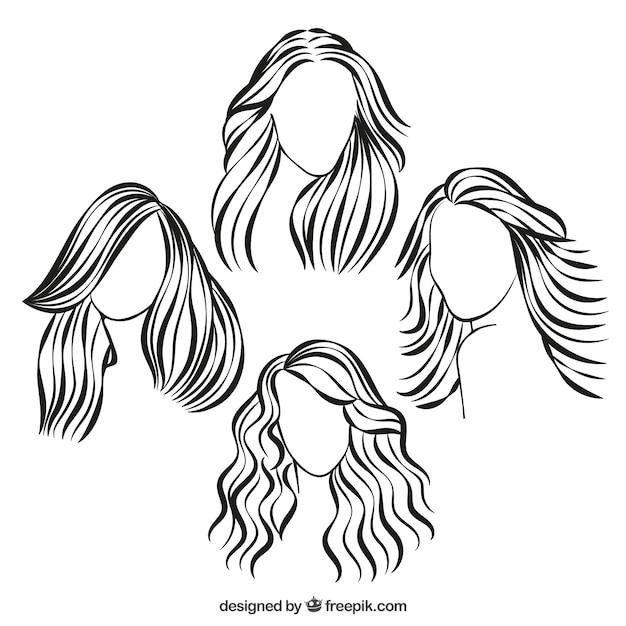 Hairstyle Vector : Sketchy hairstyles Vector Free Download