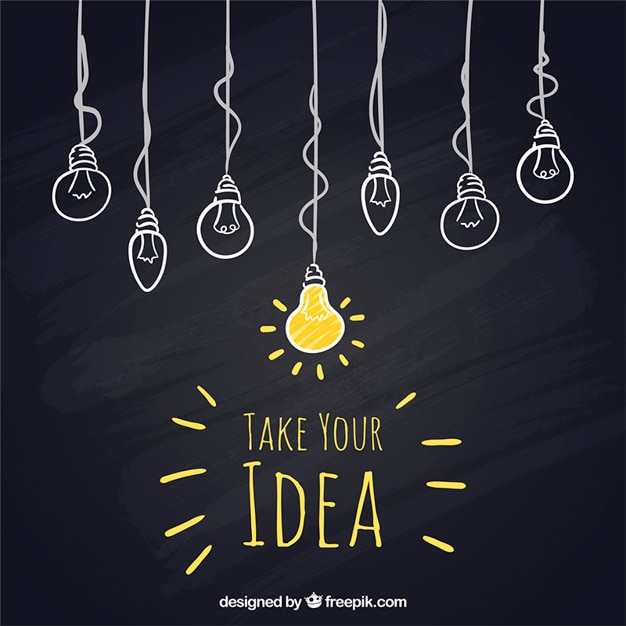 Sketchy hanging light bulbs on blackboard Premium Vector
