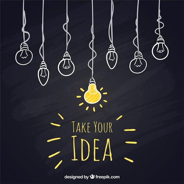 Sketchy hanging light bulbs on blackboard Free Vector