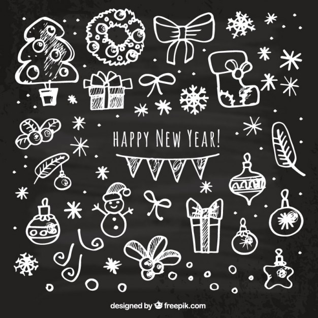 Sketchy happy new year card Vector | Free Download