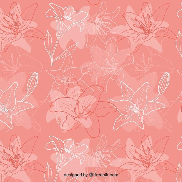Sketchy iris flowers pattern Free Vector