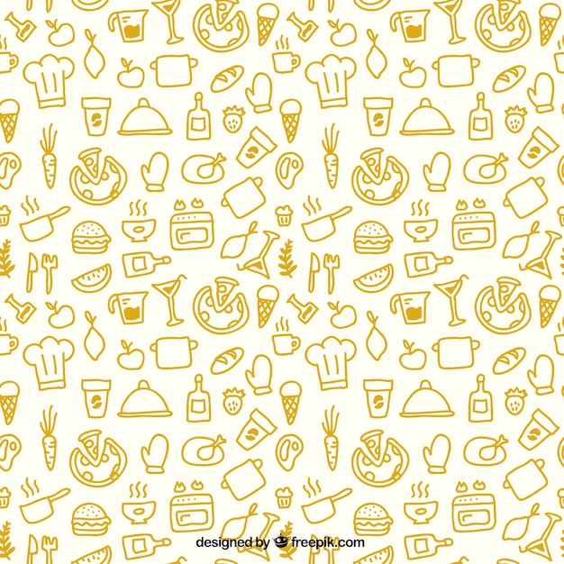 Sketchy kitchen pattern Free Vector