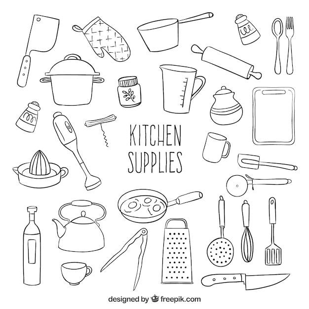 Sketchy kitchen supplies Free Vector