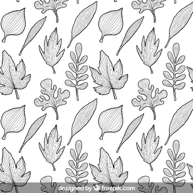 Premium Vector Sketchy Leaves Pattern