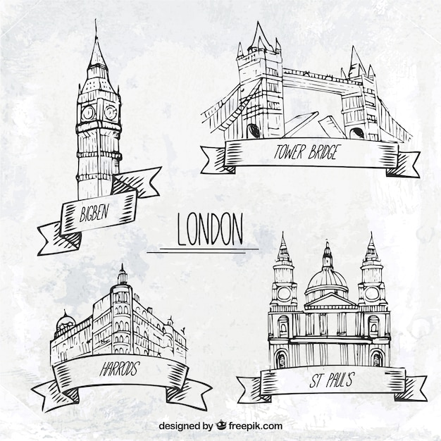 Эскизные лондон памятники Premium векторы