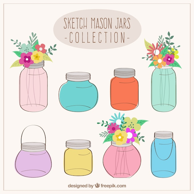 Sketchy mason jars collection Vector | Free Download