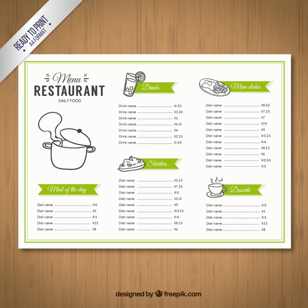 Sketchy menu template vector free download for Free menu design templates