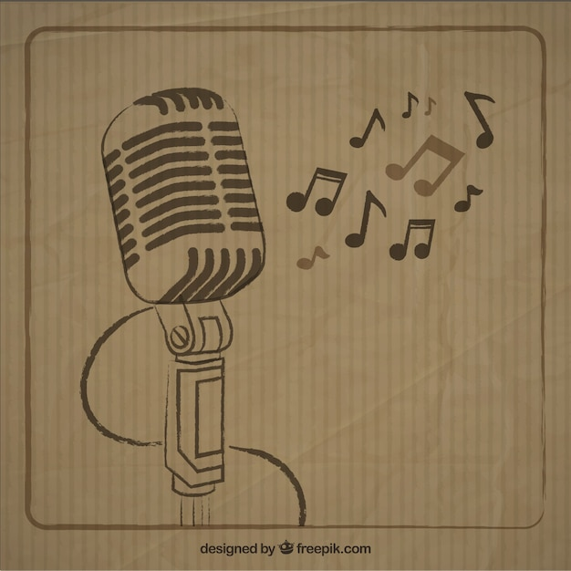 Sketchy microphone in retro style Free Vector