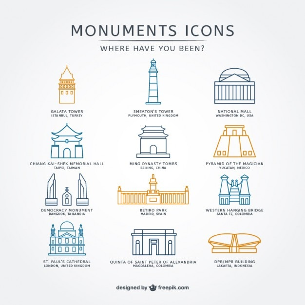 Sketchy monuments icons