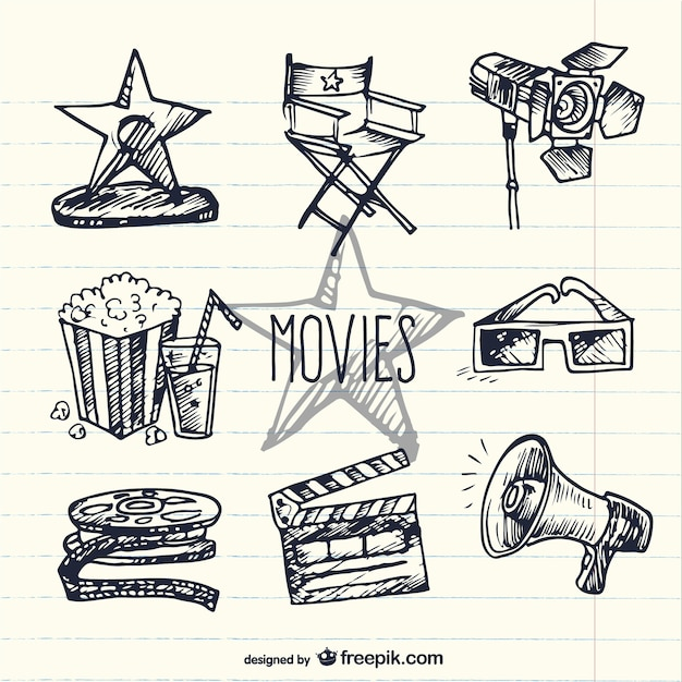 Sketchy movie elements Free Vector