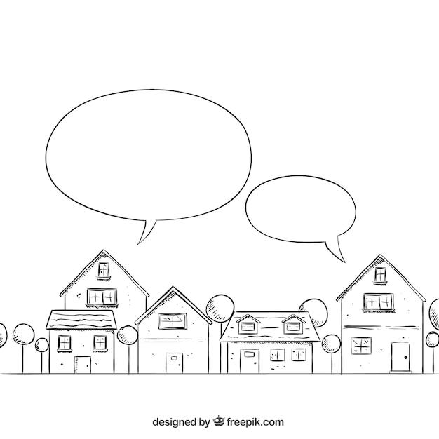 Sketchy neighborhood with speech bubbles Premium Vector