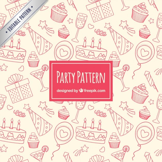Sketchy party pattern Free Vector