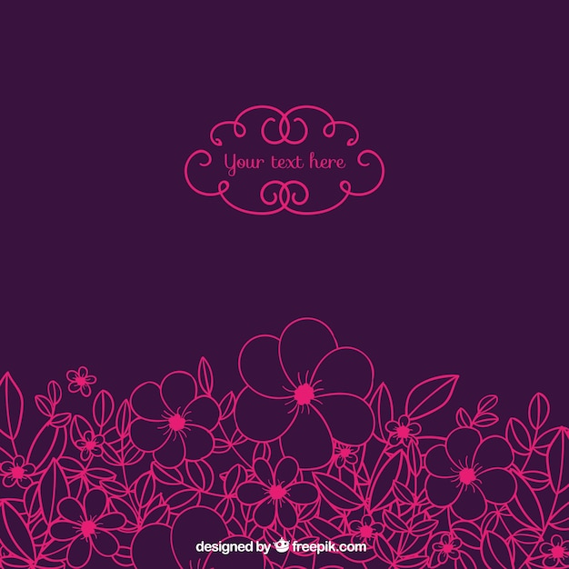 Sketchy pink flowers on purple\ background