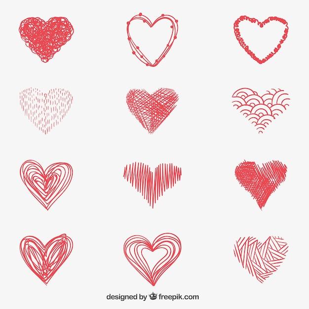 Sketchy red hearts Free Vector